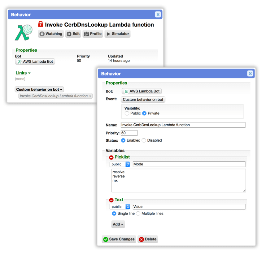 Run AWS Lambda functions from a Cerb bot - Cerb